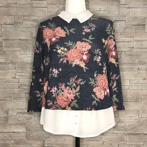 Faith and Joy grey knit floral top w/ faux blouse